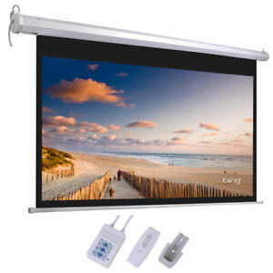 92 16 9 80 X 45 Hd Foldable Electric Motorized Projector Screen Remote White