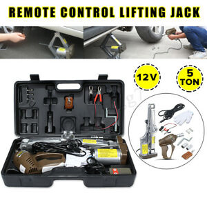 Us 12v 5 Ton Electric Automatic Car Jack Scissor Lift New Tire Repair Tool Kit