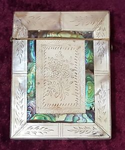 Abalone Mother Of Pearl Vintage Victorian Antique Card Case Box