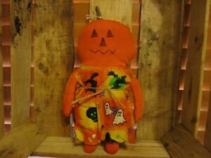 Primitive Pumpkin Girl Doll Halloween Fall Witch Bats Ghost Dress A