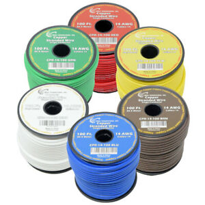 6 way 14 Awg Trailer Harness Pure Copper Stranded Power Wire 100ft True Gauge