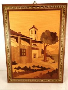 Marquetry Wood Inlay House With Tower Scene Wall Art