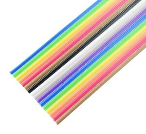 10 14 16 20 26 Way Multi Coloured Flat Ribbon Cable Wire 28awg