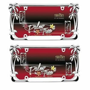New Palm Trees Chrome Metal License Plate Frame Universal Size Pair