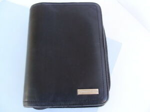 Franklin Covey Pocket 1 rings Black Nappa Leather Planner Binder Organizer zip