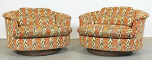 Pair Of Mid Century Danish Modern Round Swivel Club Chairs By Selig