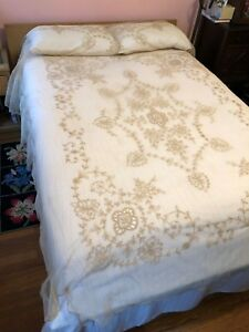 Antique Tambour Lace Tulle 5 Items Set Bed Coverlet And Matching Dresser Scarfs