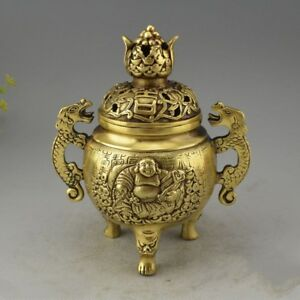 Chinese Brass Buddha Statue Incense Burner Crafts