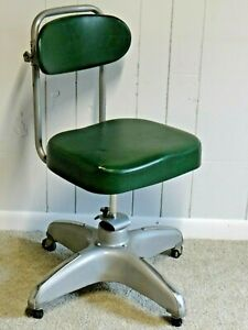 Retro Industrial Cosco Desk Chair Propeller Base Green Adjustable Mcm Ships