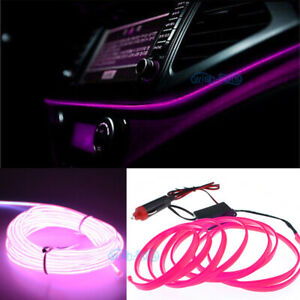 6 5ft Pink El Wire 12v Car Interior Decor Fluorescent Neon Strip Cold Light