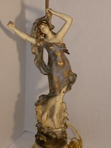 Sculpted Antique Vintage French Lamp Signed Aug Moreau