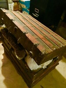 Antique 1909 Rochester Ny Vintage Steamer Trunk Zelter Blum Wood Metal Leat