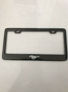 Real Carbon Fiber License Plate Frame Ford Mustang Cobra Horse Shelby Gt