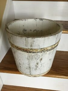 Early Primitive Wood Bucket Old White Chippy Paint Nice And Tight