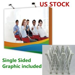 8ft Straight Tension Fabric Pop Up Display Backdrop Stand Trade Show Graphic
