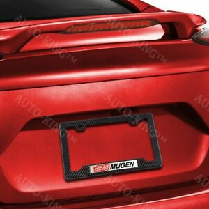 Mugen Car Emblem W Carbon Style Abs License Plate Frame For Honda Civic Si 1pc