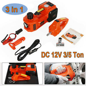 Electric 3 5 ton Car Hydraulic Floor Jack Lifting Auto Gauge Impact Wrench Set
