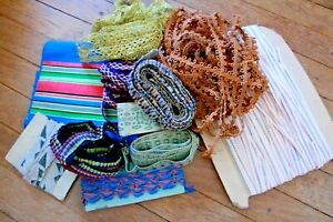 Lot Of Antique And Vintage Silk Ribbon Trim Passementerie Gold Lace Yardage