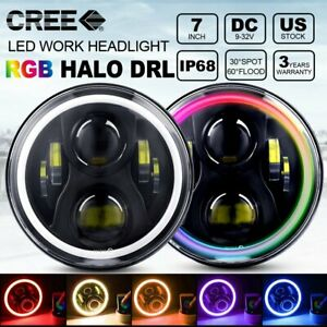 Pair 7 Headlight Led Rgb Halo Projector Angel Drl For Jeep Wrangler Jk Tj Lj
