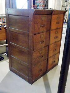 Early 1900 S Art Deco 2 Section 8 Drawer 2 Ea X4 Shannon Wood Filing Cabinets