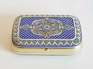 Beautiful 19c Russian Gilt Silver Enamel Cigarette Case Khlebnikov