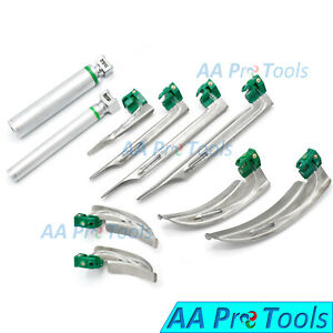 Laryngoscope Fo Mac Miller Set Of 8 Blades 2 Handles Emt ent Set