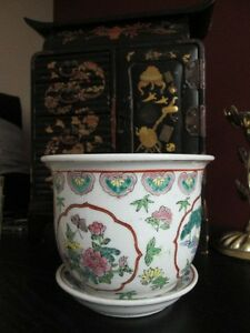 Vintage Chinese Famille Rose Planter Pot Bowl Jardiniere Hand Painted