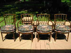 4 Drexel Heritage Chinoiserie Faux Bamboo Dining Arm Chairs Beautiful Pristine