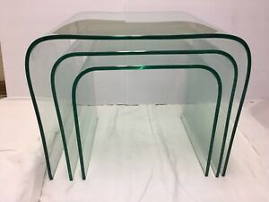 Vtg Mid Century Modern Nesting Stacking Glass Tables Rounded Mcm Furniture
