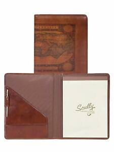 New Scully Leather Vintage Old World Atlas Writing Pad Portfolio With Pen Cognac