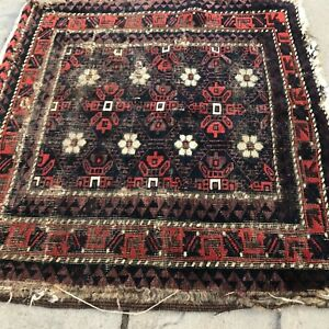 Antique 19th Century Tribal Rug Small And Worn Purple Blue Orange And White