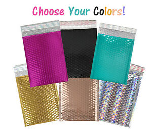 6x9 Metallic Hot Pink teal black Holographic copper Rigid 6x10 Bubble Mailers