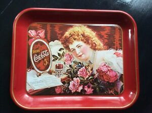 COCA COLA 75TH ANNIVERSARY METAL TRAY THE GIRL WITH ROSES Hilda Clark #24339