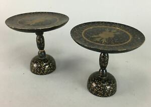 Japanese Hina Doll Stand Gold Makie Vtg Wooden Miniature Furniture Black Id147