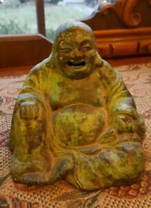 Old Buddha Incense Burner Figural Cast Metal Bronze Wash