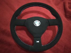 Bmw E30 Small Mtech2 Steering Wheel 370 Mm Alcantara With Three Colour Stitching