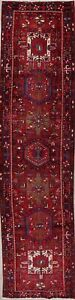 Palace Size Geometric Heriz Persian Oriental Hand Knotted 4x14 Wool Runner Rug