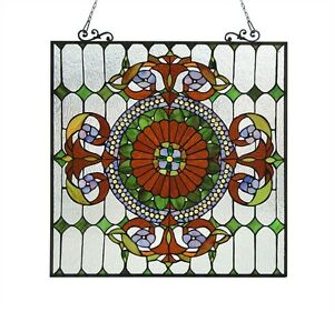Tiffany Style Stained Cut Glass Window Panel 25 X 25 Last One This Price