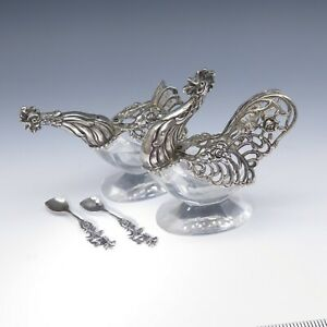 Vtg German 835 Sterling Silver Hen Rooster Salt Pepper Cellars Movable Wings