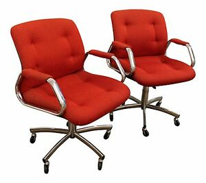 Pair Of Mid Century Danish Modern Red Chrome Steelcase Office Chairs On Wheels