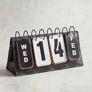Perpetual Calendar Metal Flip Distressed Rustic B w Day Date Month Desktop