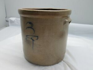Antique 3 Gallon Salt Glazed Crock With Blue Bee Sting Design Stoneware