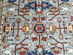 Afghan Mahal Nutural Dye Hand Knotted Rug 5 3 7 2 Gray Green Multi Color