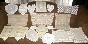 Vintage Large Lot Of 18 Lace Crochet Hearts Flowers Lady Knitting Figural