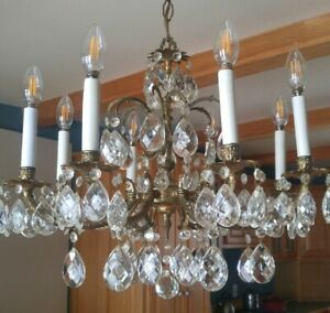Vintage Brass Crystal Chandelier 8 Light Ceiling Fixture Hanging Antique Perfect