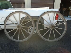 2 Antique Vintage American Wood Spokes Wagon Carriage Buggy 50 1 2 Wheels