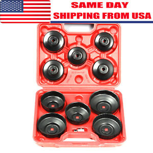 11pcs Cap Type Oil Filter Wrench Set Socket Tools Automotive Removal Kit W Case
