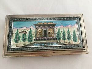 Unique Lovely Antique Persian Islamic Enameled Solid Silver Box Hallmarked