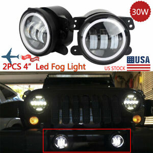 2x 4 Inch 30w Halo Led Fog Lights For 07 17 Jeep Wrangler Front Bumper Lamp