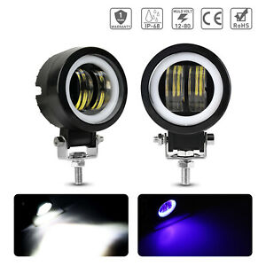 Universal 3 Square Projector Blue Led Drl Halo Angel Eyes Fog Lights Lamp 2pc
